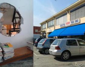 Il foro nel muro di Fuligni Giochi & Sport, il negozio derubato stanotte nelle immagini scattate dopo il furto avvenuto a marzo
