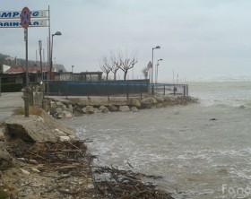 Maltempo a Pesaro: la spiaggia a Fosso Sejore
