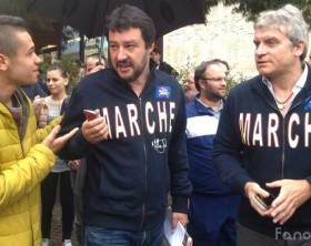 Matteo Salvini, leader della Lega Nord a Fano