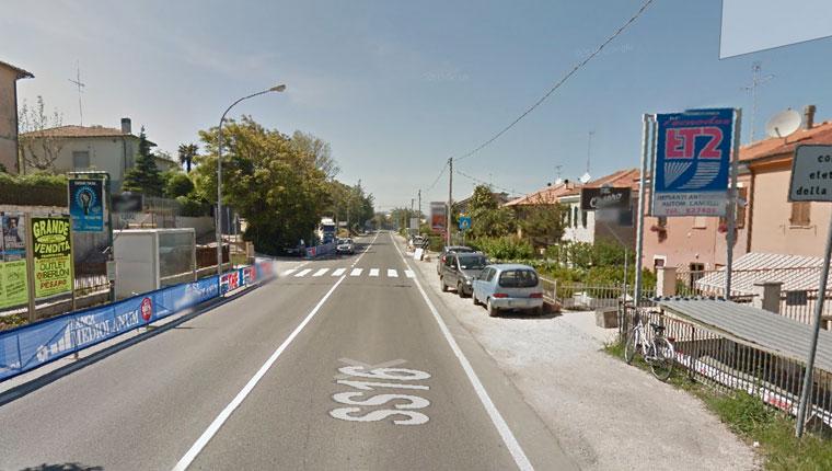 il tratto della strada Statale Adriatica in cui è avvenuto l'incidente - Foto tratta da Google Maps