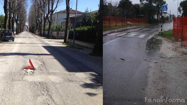 Fotomontaggio di una bica in via Don gentili e situazione pericolosa in via Trave