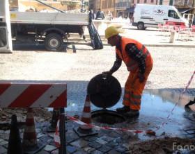 i lavori in centro storico di Fano all'acquedotto comunale