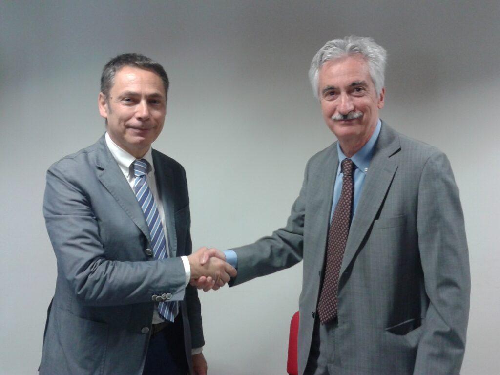 Alberto Deales, direttore sanitario azienda Ospedali Riuniti Marche Nord insieme al direttore generale di Marche Nord, Aldo Ricci durante la presentazione a Pesaro