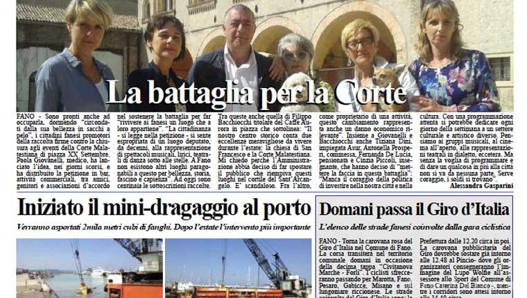 L'edizione di lunedì 18 maggio del quotidiano Fanoinforma con le notizie della città di Fano