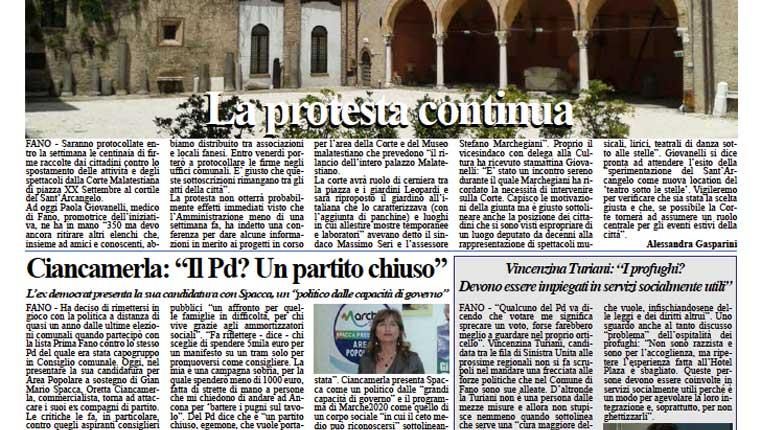 L'edizione di lunedì 25 maggio del quotidiano Fanoinforma con le notizie della città di Fano