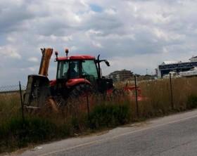 Il taglio dell'erba nell'area di Marina Group