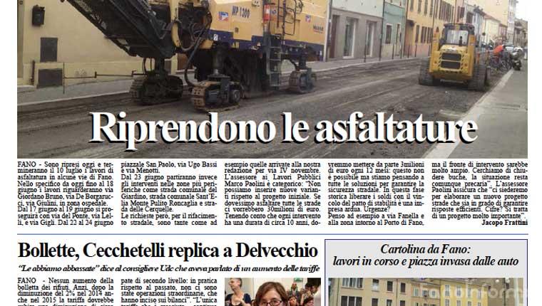 L'edizione di oggi, lunedì 15 giugno, del quotidiano Fanoinforma con le notizie della città di Fano