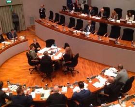 La prima seduta dell'Assemblea legislativa della Regione Marche. Al centro il governatore Luca Ceriscioli