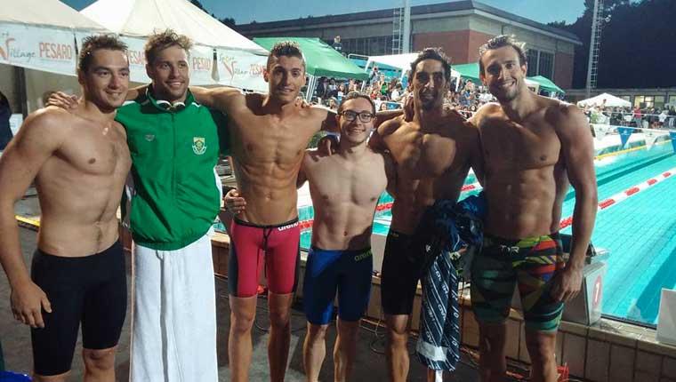 Filonzi della Fanum Fortunae Nuoto insieme a Magnini al Trofeo Rossini di Pesaro
