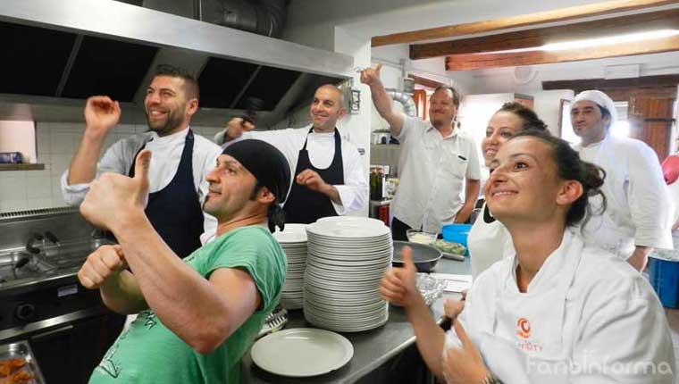 """Gli chef della serata """"Grani antichi e paste nuove"""" che si è svolta alla Locanda Girolomoni di Isola del Piano"""