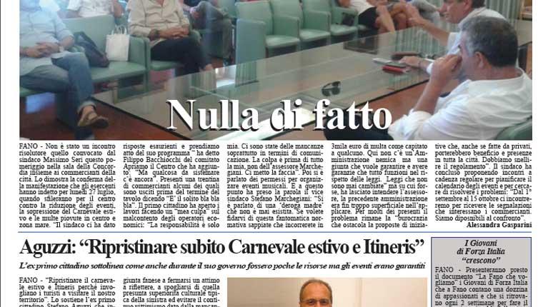 L'edizione di oggi, giovedì 23 luglio 2015, del quotidiano Fanoinforma con le notizie della città di Fano