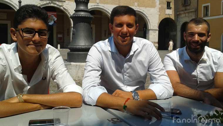 Domenico Carbone, Alessio Pagliacci e Mattia Omiccioli, dei Giovani di Forza Italia