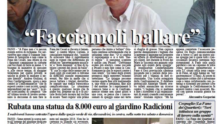 L'edizione de 3 agosto 2015 del quotidiano Fanoinforma