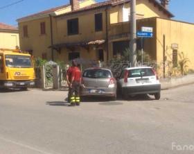 L'incindente in via Flaminia incrocio con via Arno a Fano
