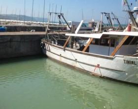 """lo spazio vuoto lasciato dalla vongolara """"Altair"""" affondata questa notte nel porto di Fano"""