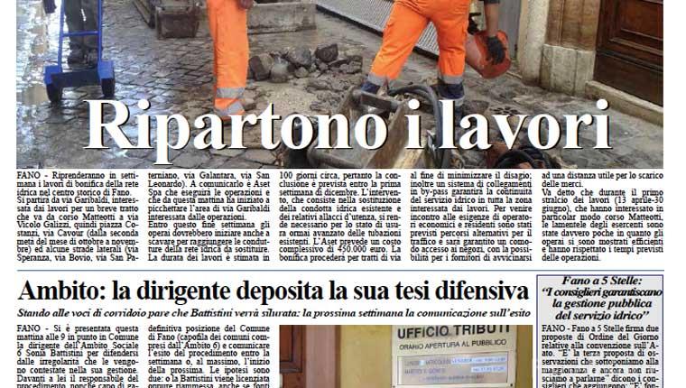 L'edizione di oggi, martedì 1 settembre, del quotidiano Fanoinforma con le notizie della città di Fano