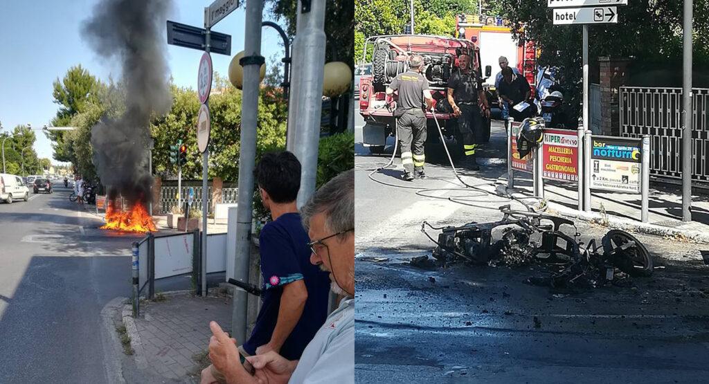 Motorino in fiamme