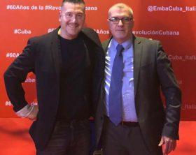 Filippo Carboni assieme all'Ambasciatore della Republica di Cuba a Roma